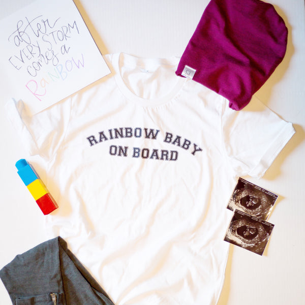 Rainbow Baby On Board [White Crewneck]