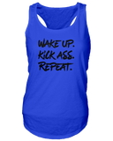 Wake up. Kick ass. Repeat. Jersey Tank Top - Sorry Charli