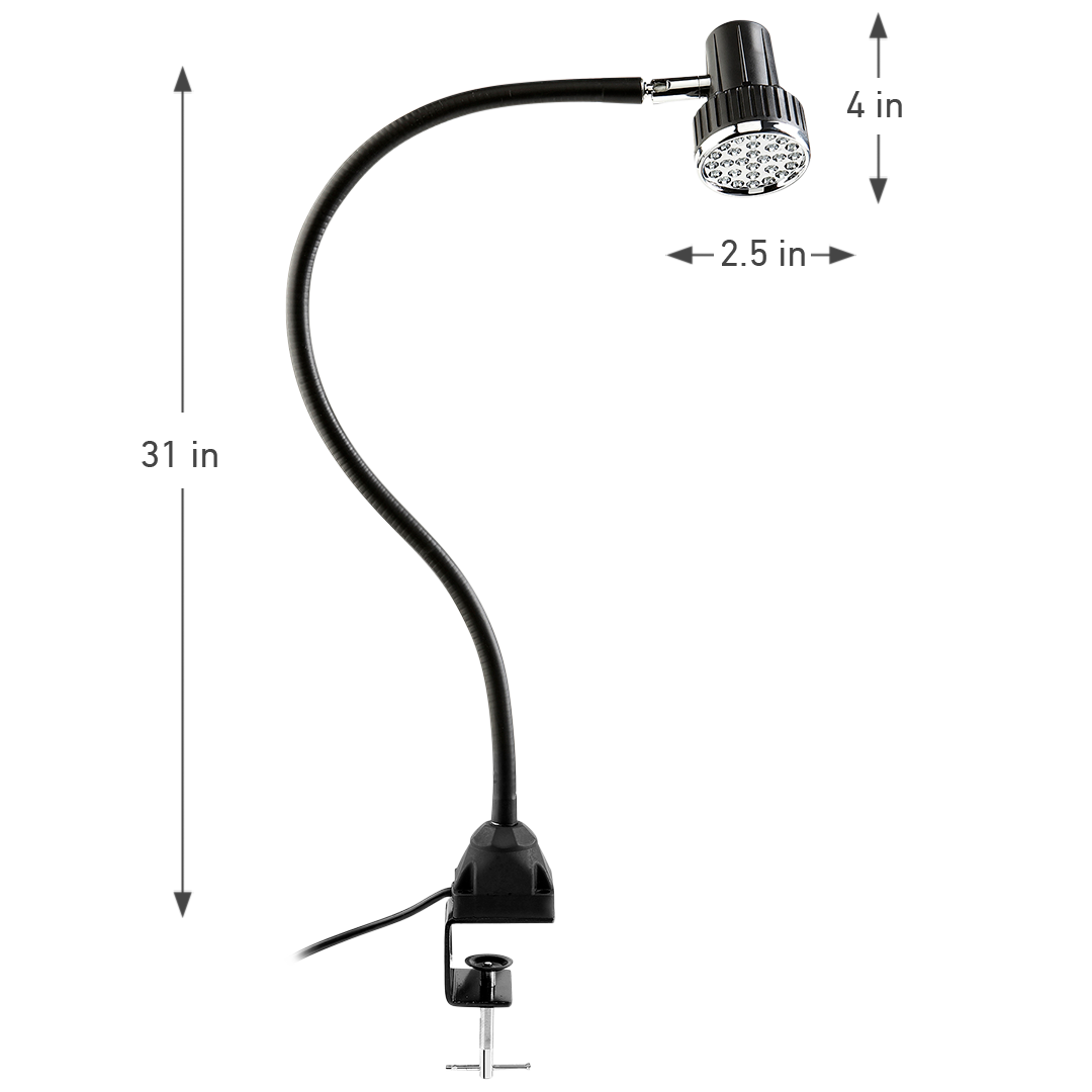 UBERLIGHT 2000TL LED TASK LIGHT WITH CLAMP DIMENSIONS