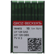 128 GBS GROZ-BECKERT® SEWING MACHINE NEEDLE, 10 PACK