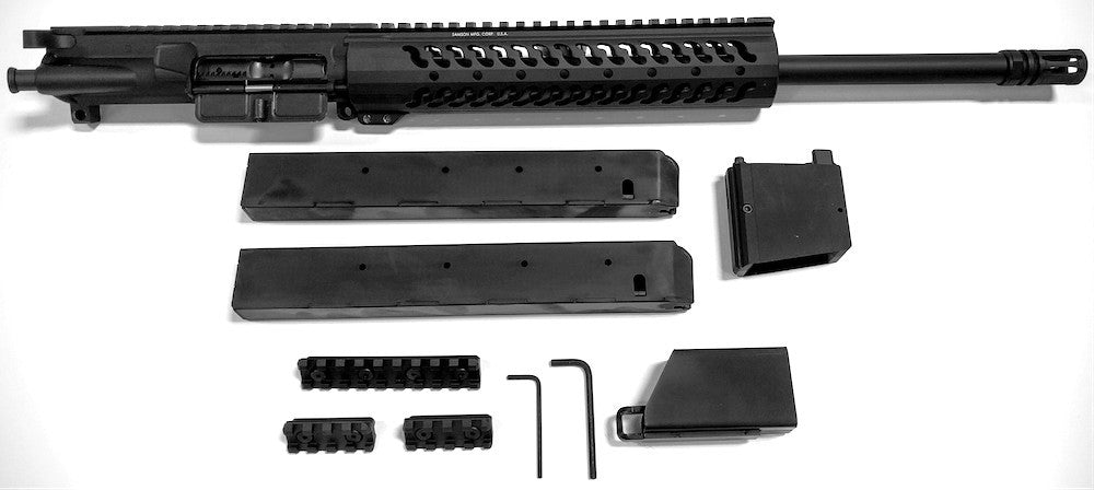Our Macon Armory AR45 complete upper receiver conversion kit with direct impingement upper provides all you need to convert your existing AR lower into an AR45