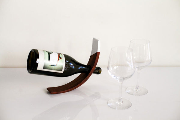 White Dipped Wooden Wine Holder