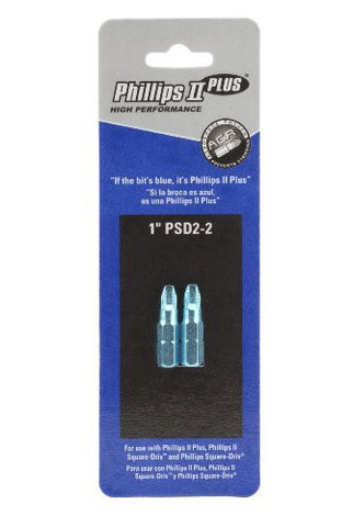 "1"" Phillips-Square Combo Bit PSD2-2 with ACR-2pk"