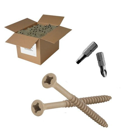 "50 lb 9x3-1/2"" Tan Phillips-Square Drive Exterior Screw"