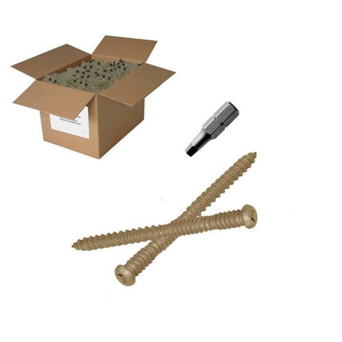"25 lb10x2-1/2"" Tan Composite Screw - Square drive"