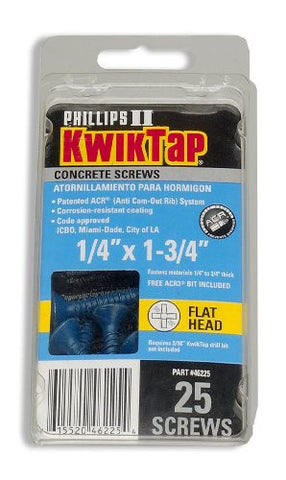 "1/4"" x 1-1/4"" PFH 25pk Concrete Screws"