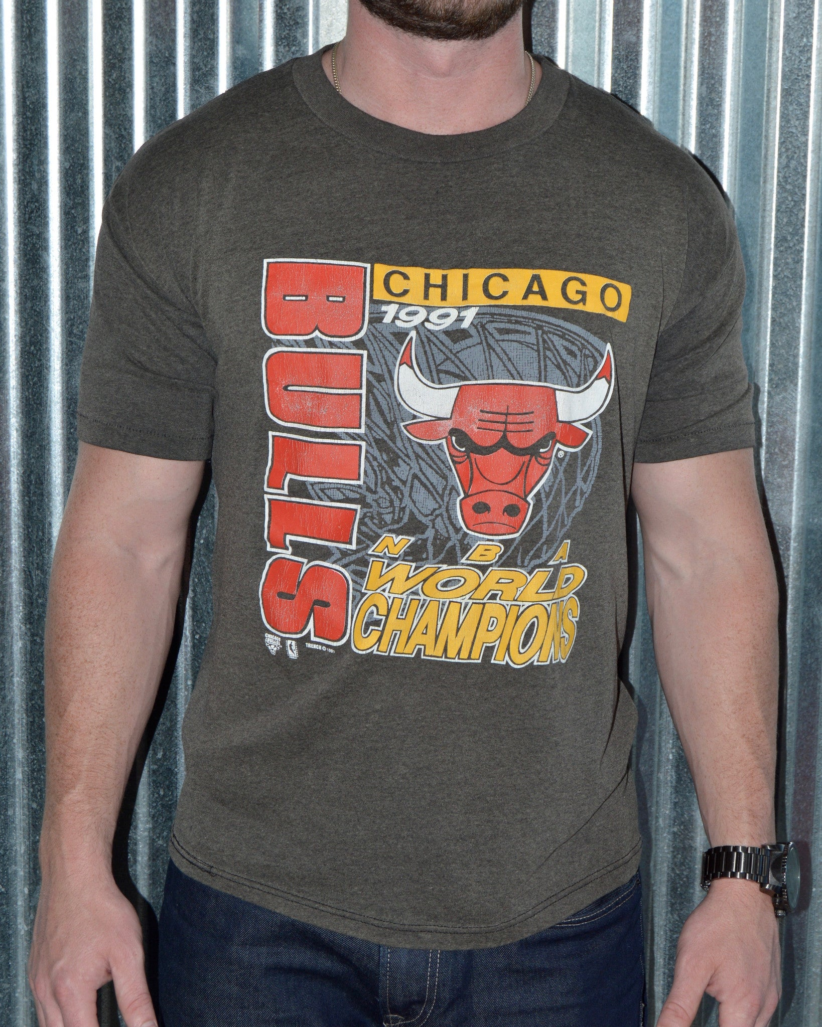 free shipping a4b47 35750 Vintage Chicago Bulls NBA World Champs T-Shirt sz M