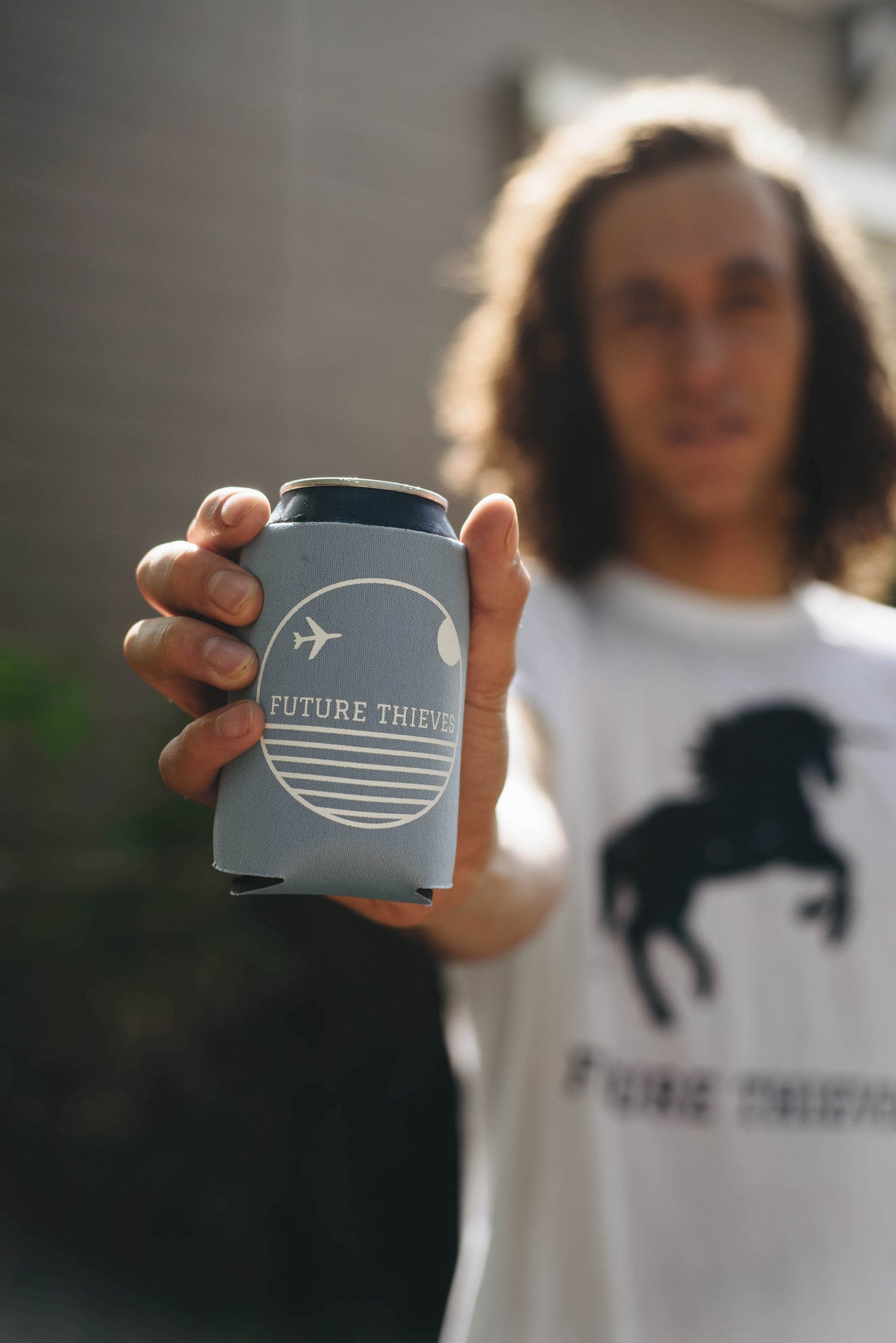 Future Thieves Light Blue Koozie
