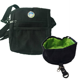 Jasper Swag Bag Mini Dog Treat Bag with Gulp & Go Travel Bowl