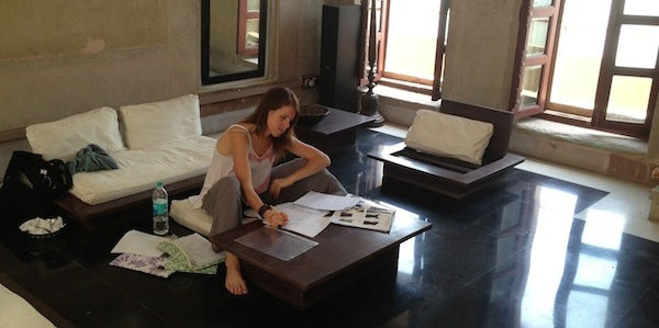 Designer, Kate Fisher, in element creating future collections while in Nepal in October 2013