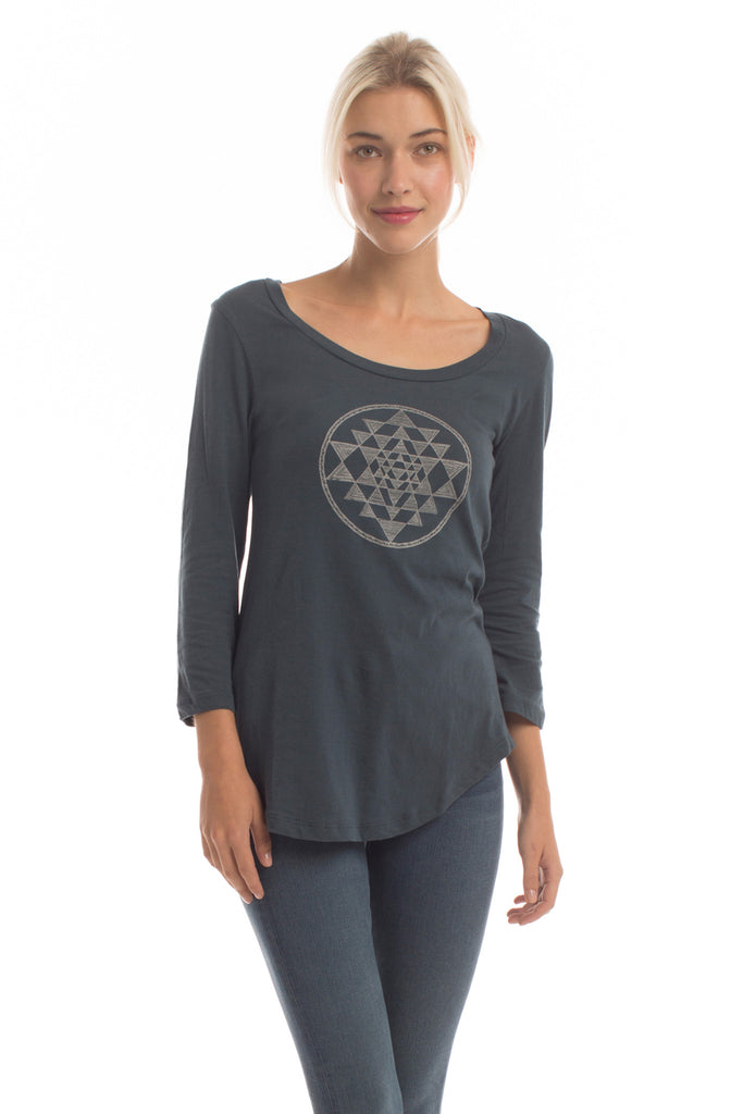 Sri Yantra Ballet Top in Orion Blue