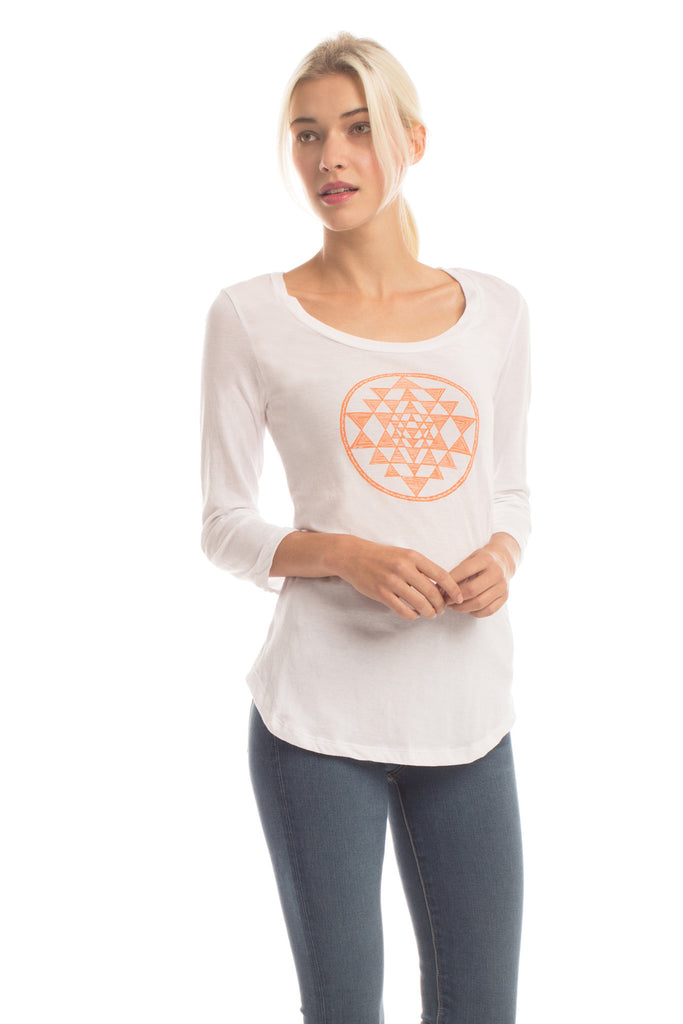 Sri Yantra Ballet Top in Diamond White