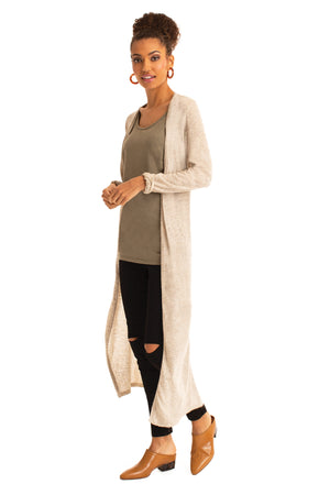 The Relaxed Long Cardigan LIGHT TAUPE / XS - Synergy Organic Clothing