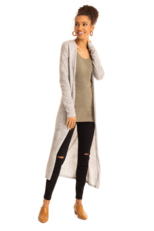The Relaxed Long Cardigan HEATHER GREY / XS - Synergy Organic Clothing