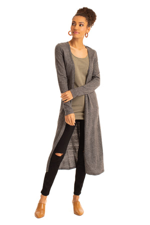 The Relaxed Long Cardigan CHARCOAL / XS - Synergy Organic Clothing