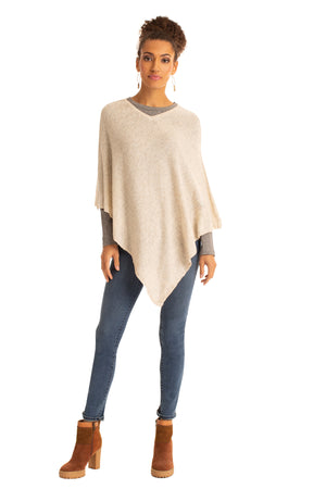 The V-Neck Poncho LIGHT TAUPE / OS - Synergy Organic Clothing