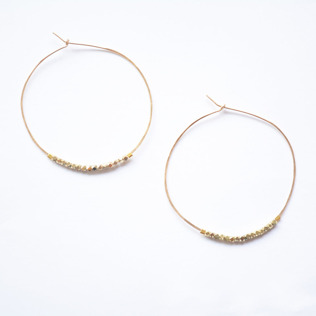 Beaded Dulce Hoops - Gold