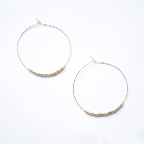 Beaded Dulce Hoops - Silver