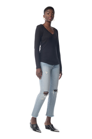 Easy V-Neck Long Sleeve BLACK / XS - Synergy Organic Clothing