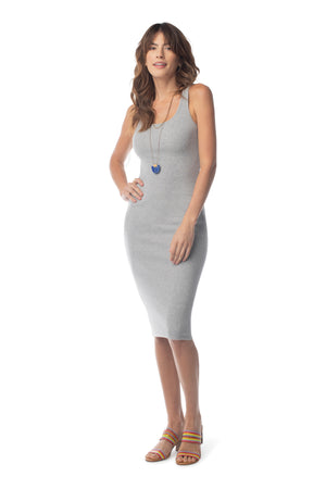 Rib Knit Foundation Dress HEATHER GREY / XS - Synergy Organic Clothing