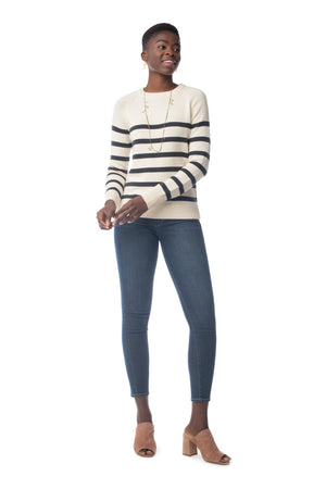 Crew Sweater NATURAL/ONYX STRIPE / XS - Synergy Organic Clothing