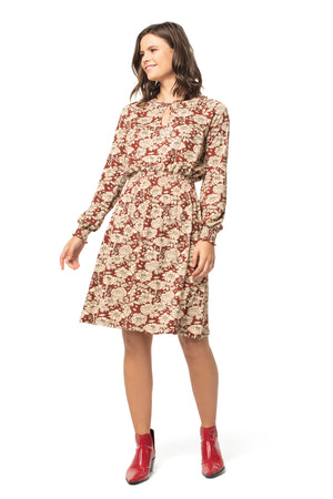 Holiday Floral Hazel Dress FLORAL BRICK / XS - Synergy Organic Clothing