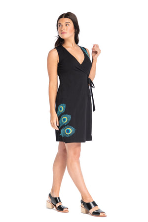 Peacock Applique Classic Wrap Dress