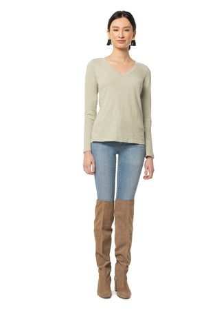 Easy V-Neck Long Sleeve Tee DESERT SAGE / XS - Synergy Organic Clothing