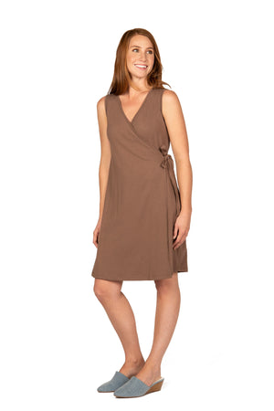 Classic Wrap Dress DEEP TAUPE / XS - Synergy Organic Clothing