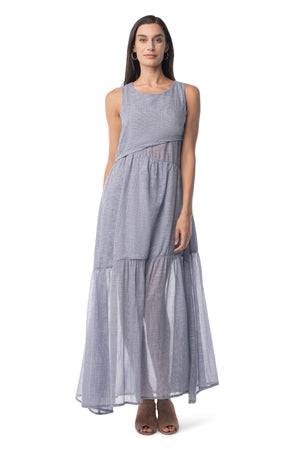 Cora Maxi NAVY CHECKED / XS - Synergy Organic Clothing