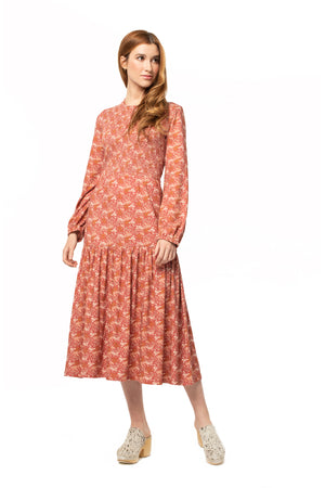 Floral Bordeaux Dress FLORAL TEABERRY / XS - Synergy Organic Clothing
