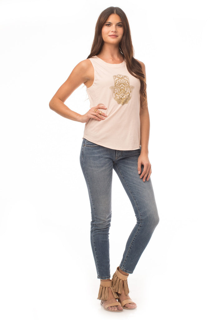 Tops - Hamsa Crescent Moon Top