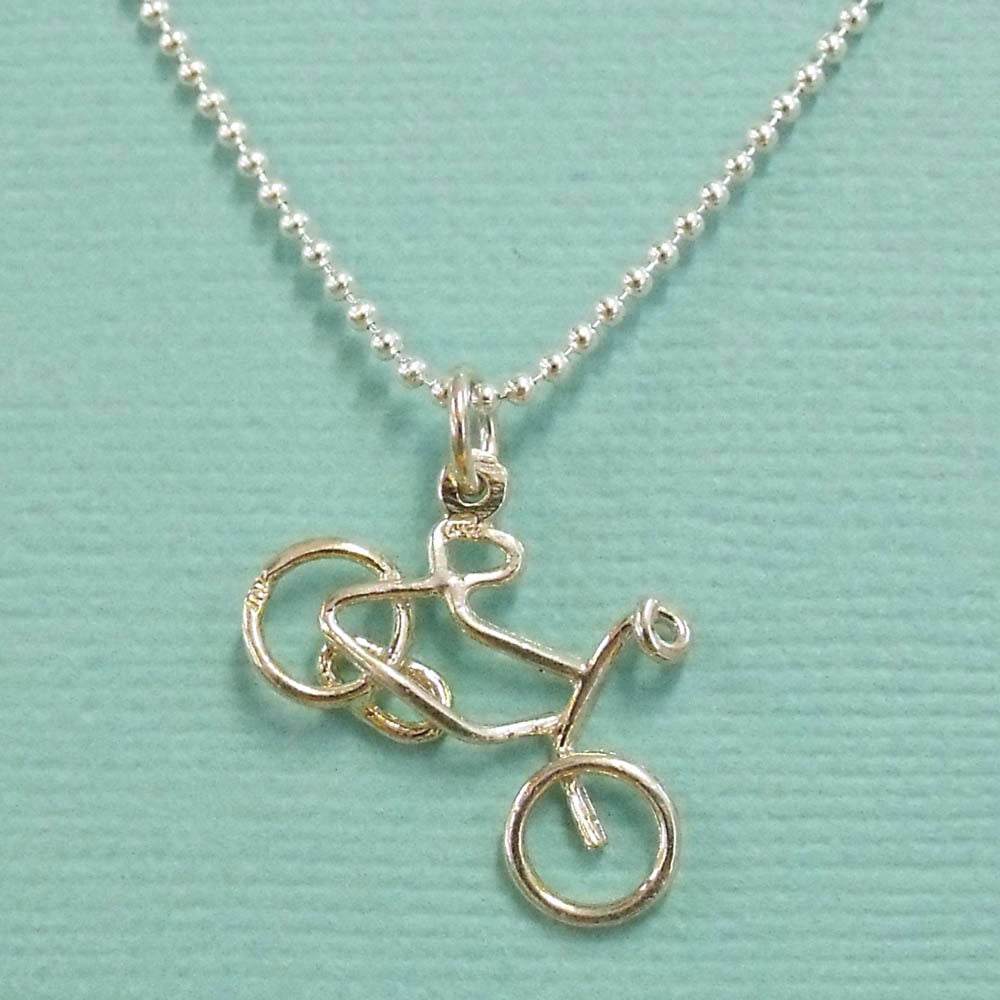 sterling silver bicycle necklace sailorgirl jewelry