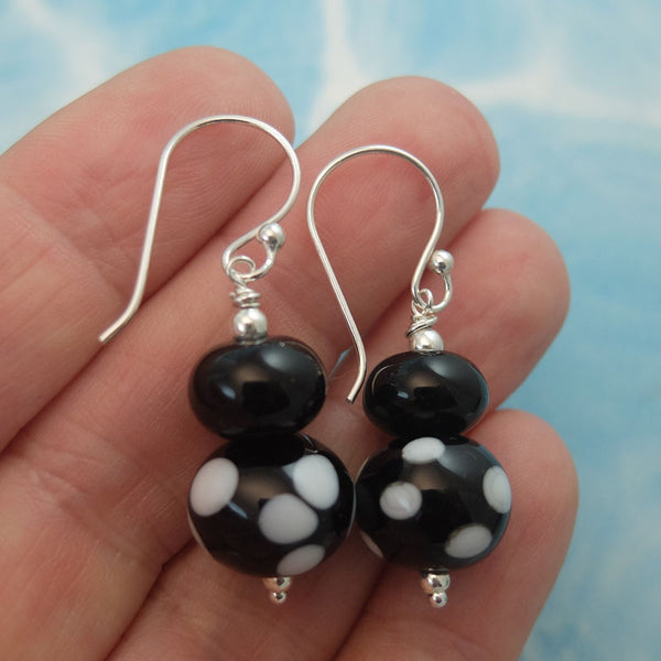 classic black and white polka dot earrings