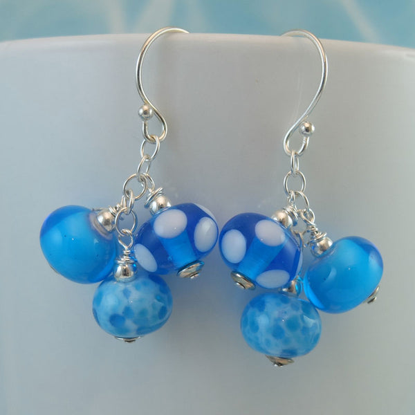bahama blue cluster earrings