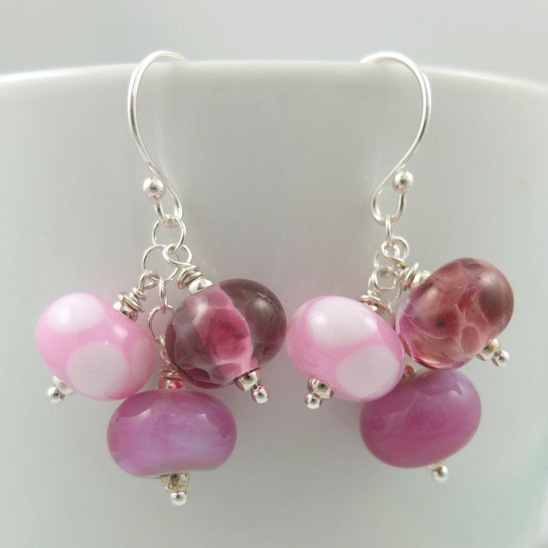 girly pink cluster earrings