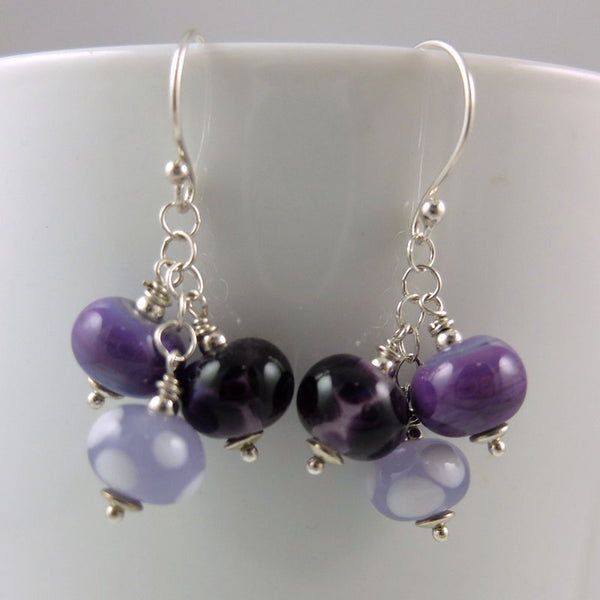 purple passion cluster earrings