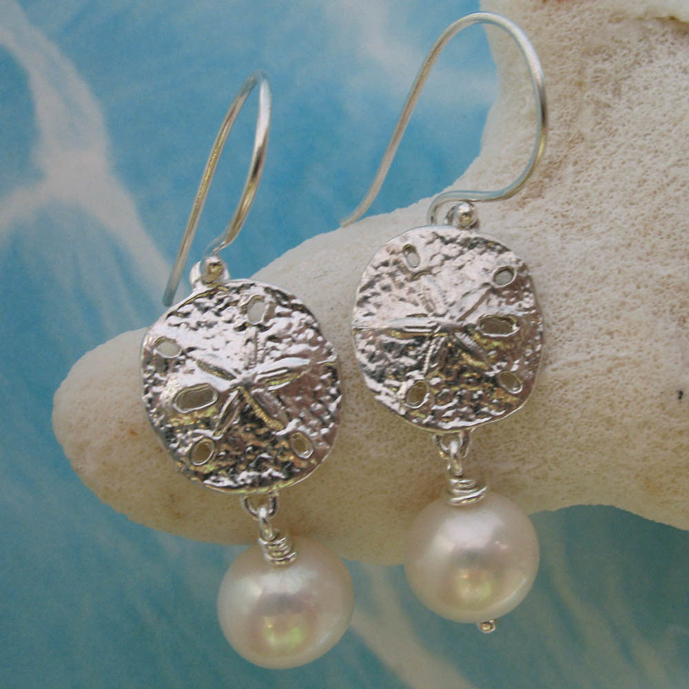 sand dollar and pearl earrings