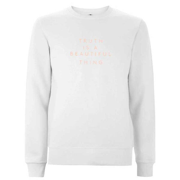 TRUTH IS A BEAUTIFUL THING  WHITE CREW NECK SWEATER