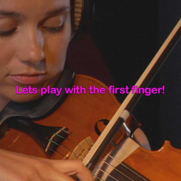 Lesson 026:Lets play with the first finger! - violino online, play violin online,   - tocar violin online, уроки игры на скрипке, Metodo Mirkovic - cours de violon en ligne, geige online lernen