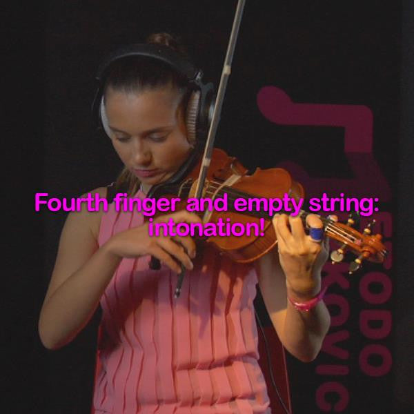Lesson 037:Fourth finger and empty string: intonation! - violino online, play violin online,   - tocar violin online, уроки игры на скрипке, Metodo Mirkovic - cours de violon en ligne, geige online lernen