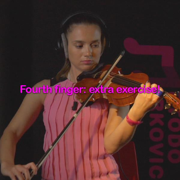 Lesson 038:Fourth finger : extra exercise! - violino online, play violin online,   - tocar violin online, уроки игры на скрипке, Metodo Mirkovic - cours de violon en ligne, geige online lernen