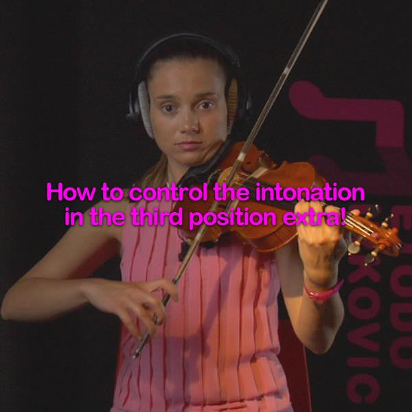 Lesson 043:How to control the intonation in the third position extra! - violino online, play violin online,   - tocar violin online, уроки игры на скрипке, Metodo Mirkovic - cours de violon en ligne, geige online lernen