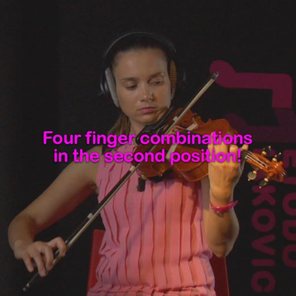 Lesson 046:Four finger combinations in the second position! - violino online, play violin online,   - tocar violin online, уроки игры на скрипке, Metodo Mirkovic - cours de violon en ligne, geige online lernen