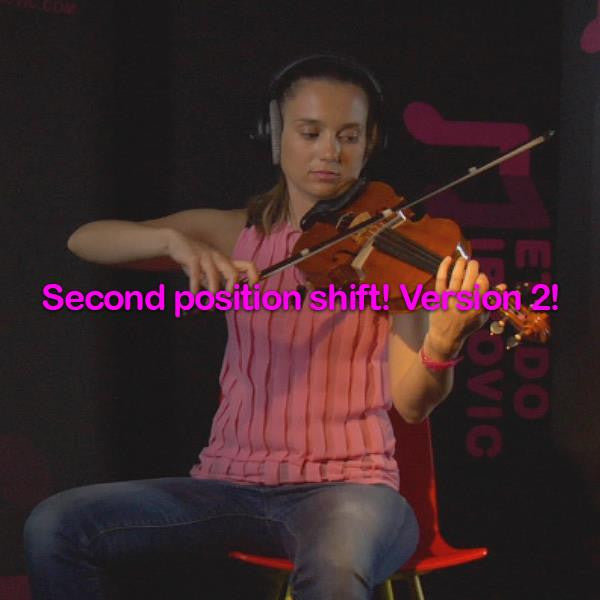 Lesson 047:Second position shift! Version 2! - violino online, play violin online,   - tocar violin online, уроки игры на скрипке, Metodo Mirkovic - cours de violon en ligne, geige online lernen