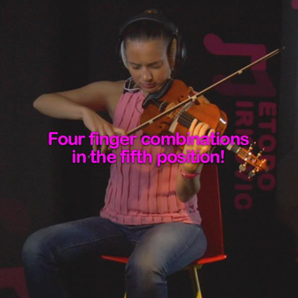 Lesson 052:Four finger combinations in the fifth position! - violino online, play violin online,   - tocar violin online, уроки игры на скрипке, Metodo Mirkovic - cours de violon en ligne, geige online lernen