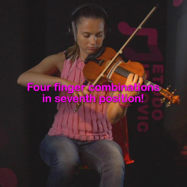 Lesson 056: Four finger combinations in seventh position! - violino online, play violin online,   - tocar violin online, уроки игры на скрипке, Metodo Mirkovic - cours de violon en ligne, geige online lernen