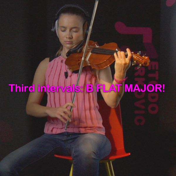 Lesson 097: Third intervals: B FLAT MAJOR! - violino online, play violin online,   - tocar violin online, уроки игры на скрипке, Metodo Mirkovic - cours de violon en ligne, geige online lernen