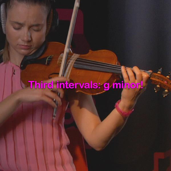 Lesson 098: Third intervals: g minor! - violino online, play violin online,   - tocar violin online, уроки игры на скрипке, Metodo Mirkovic - cours de violon en ligne, geige online lernen