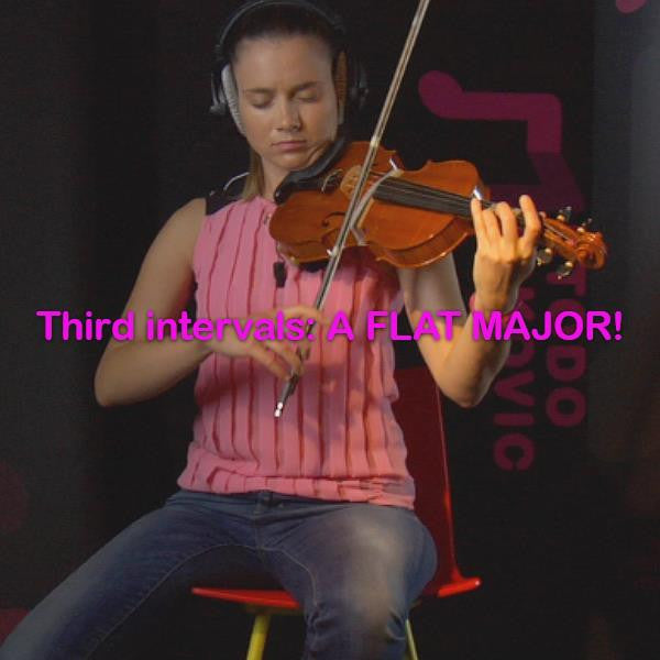 Lesson 101: Third intervals: A FLAT MAJOR! - violino online, play violin online,   - tocar violin online, уроки игры на скрипке, Metodo Mirkovic - cours de violon en ligne, geige online lernen